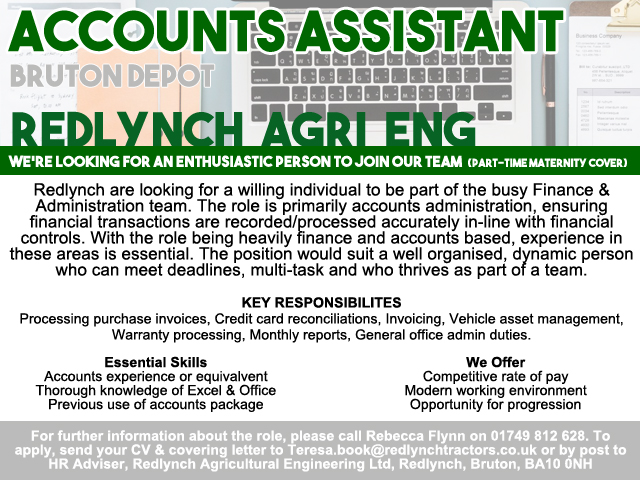 Accounts Assistant (P/T) – Redlynch, Bruton